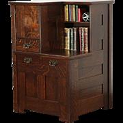 Arts & Crafts Mission Oak Library Bookcase Divider Antique Craftsman Cabinet