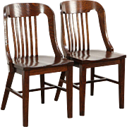 Pair Oak 1915 Antique Library or Office Chairs, Crocker of Sheboygan WI