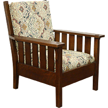Arts & Crafts Mission Oak Antique 1905 Craftsman Chair, New Upholstery