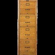 Oak 1920 Antique 4 Drawer File Cabinet, signed Browne Morse