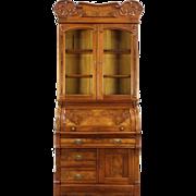 Victorian 1890 Antique Walnut Cylinder Rolltop Secretary Desk & Bookcase