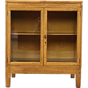 Oak 1900 Antique Cabinet or Counter, Glass Doors, Signed Globe