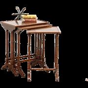 Set of 3 Banded Mahogany Vintage Nesting Tables