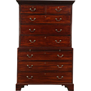 Mahogany 1840 Antique Highboy or Tall Chest on Chest, England