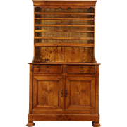 French Country 1830 Antique Cherry Pewter Cupboard or Sideboard