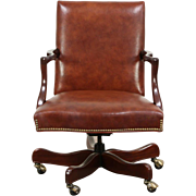 Leather Swivel Adjustable Vintage Mahogany Desk Chair, Signed Hancock & Moore