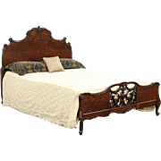 French Style Carved 1920's Antique Full Size Bed, Walnut Burl