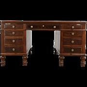 Partner Library or Office Desk, Antique 1915 Walnut & Burl