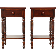 Pair of Traditional Vintage Mahogany Nightstands Signed Drexel Federal House