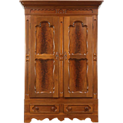 Victorian 1860 Antique Carved Walnut Armoire, Wardrobe or Closet