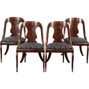 Set of 4 Empire 1825 Antique Dining or Game Chairs, New Upholstery