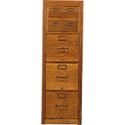 Oak 1930's 5 Drawer Filing Cabinet, Letter & 3x5 Card Sizes