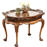 Carved Fruitwood 1930's Vintage Coffee Table, Glass Tray Top