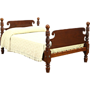 Empire 1820 Antique Mahogany Acanthus Carved Cannonball Full Size Bed
