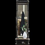 Eastlake Antique Hall Pier Mirror, Ebonized Cherry, Marble Shelf