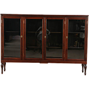 Mahogany Antique 4 Door Bookcase or China Display Cabinet, Adjustable Shelves
