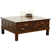 Hamilton Oak Map Chest, Collector Cabinet or Drawing File Coffee Table