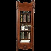 Oak 1900 Antique Carved Bookcase, Bath Cabinet