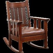 Arts & Crafts Mission Oak Rocker, 1905 Antique Craftsman Rocking Chair