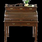 Oak Cylinder Rolltop Antique German 1900 Desk