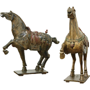 Pair Tang Dynasty Style Chinese Vintage Horse Sculptures, Hand Carved & Painted