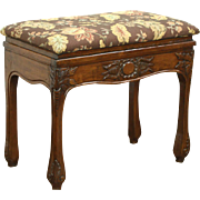 Carved Walnut 1900 Antique French Bench or Footstool, New Upholstery