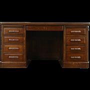 Quarter Sawn Oak 1900 Antique Library or Office Desk, Raised Panels, Carved Pull