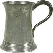 English Glass Bottom Antique Pewter Mug, Hallmarked Joseph Morgan, Royal Stamps