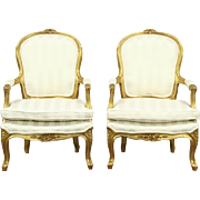 Pair of Carved French Style Chairs, Deep Gold Finish
