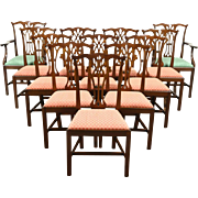 Set of 12 Traditional Georgian Style Carved Mahogany Vintage Dining Chairs