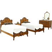 Satinwood 1925 Bedroom Set, Twin Beds, Dresser, Mirror, Nightstand, Rockford