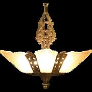 Art Deco 1930 Vintage Light Fixture, Five Original Etched Glass Shades