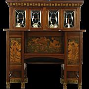 Adam & Eve Antique Hand Painted Desk or Sideboard, Beveled Glass, Signed Denmark