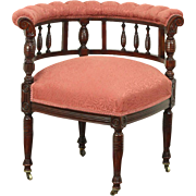 Victorian Antique 1885 Carved Corner Chair, Recent Upholstery