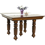 Oak Antique 1900 Square Dining Table, 4 Leaves, 5 Spiral Legs