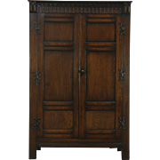 Oak English Tudor 1925 Antique Armoire, Closet or Wardrobe
