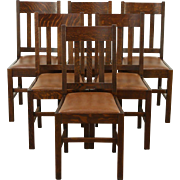 Set of 6 Arts & Crafts Mission Oak Antique Craftsman Dining Chairs Leather Seats