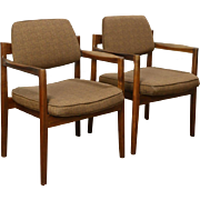 Pair of Midcentury Modern Teak 1960's Danish Chairs, Jens Risom, New Upholstery