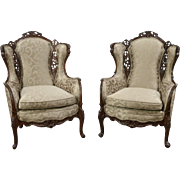 Pair of Carved Music Room Wing Chairs with Figures, 1940 Vintage, New Upholstery