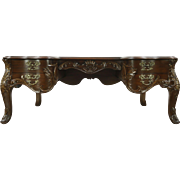 Oak & Fruitwood Vintage Baroque Carved Library Desk
