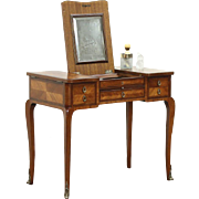 Marquetry Banded Rosewood Antique 1900 Vanity or Dressing Table, France