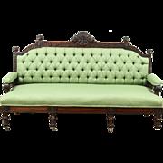 Victorian Eastlake Antique 1885 Hand Carved Walnut Sofa, Recent Upholstery