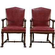 Pair of 1920's Antique Red Faux Leather Library or Office Chairs, Carved Walnut