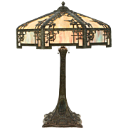 Table Lamp, 1920 Antique Stained Glass Shade, Birds, Swans & Grapevine Motifs