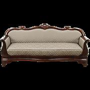 Empire Antique 1840 Carved Mahogany Sofa, New Upholstery