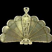 Peacock Fan & Dancer Brass Vintage Folding Fireplace Screen