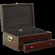 Reed & Barton Vintage Mahogany Silverware Chest, Hagerty Cloth Lined