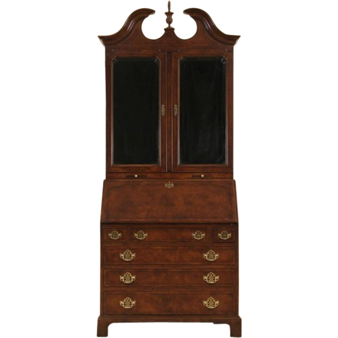 Georgian Vintage Secretary Desk & Bookcase, Smoky Mirror Doors