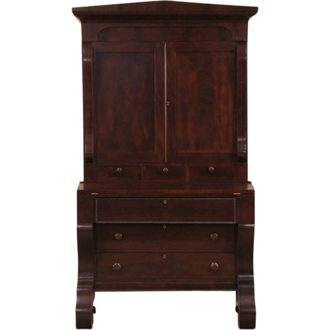 Empire 1840 Antique Mahogany Secretary Desk, Bookcase Top