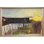 "Sun Over Village in Denmark, Original Oil Painting, 1938, 51"" Wide"